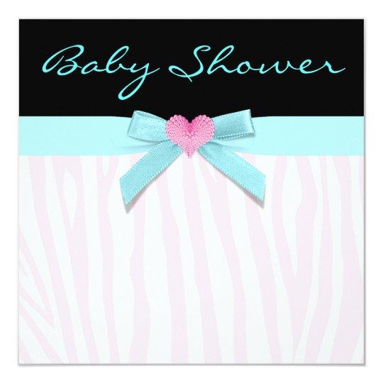 Pink Zebra Teal Heart Baby Girl Shower Card