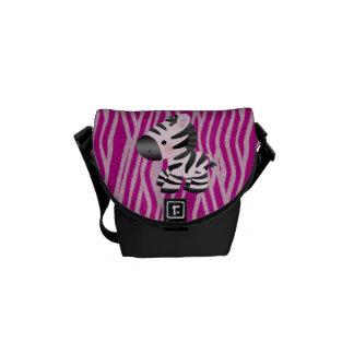 Pink Zebra Texture Animal Print Messenger Bag