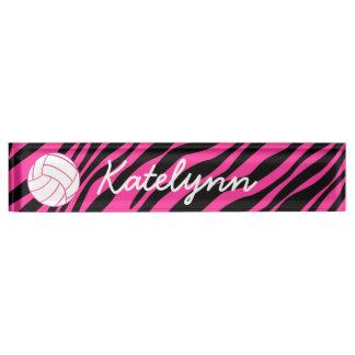 Pink Zebra Volleyball Monogram Desk Name Plate