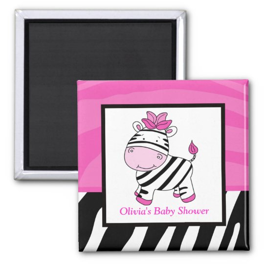 Pink Zebra Wild Jungle Rectangle Favour Magnet