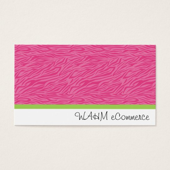 Pink Zebra with Green Stripe Business Card