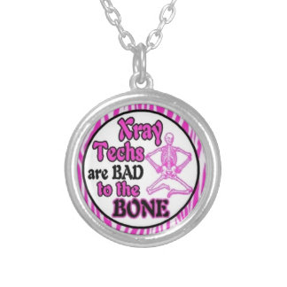 Pink zebra x-ray tech bad to the bone necklace