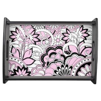 pink zen pattern serving tray