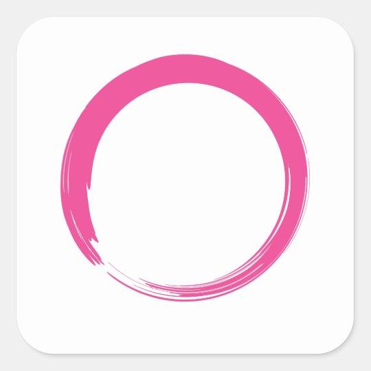 Pink Zen Symbol / Enso Circle Square Sticker