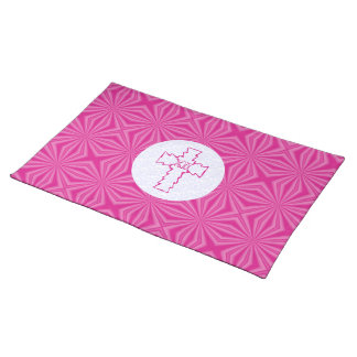 Pink Zig-Zag Christian Cross on White and Hot Pink Placemat
