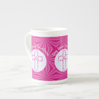 Pink Zig Zag Christian Cross White and Hot Pink Tea Cup
