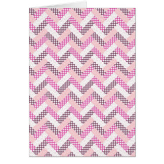 Pink Zig Zag Quilt Pattern Gifts for Her Greeting Card