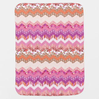 Pink zigzag background baby blanket