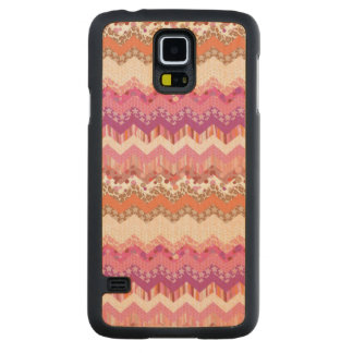 Pink zigzag background carved maple galaxy s5 case
