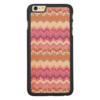 Pink zigzag background carved maple iPhone 6 plus case
