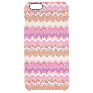Pink zigzag background clear iPhone 6 plus case