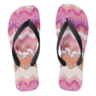 Pink zigzag background flip flops