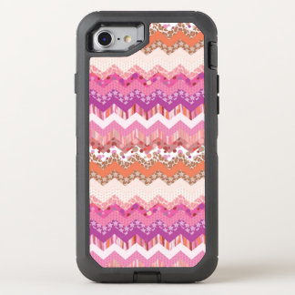 Pink zigzag background OtterBox defender iPhone 8/7 case