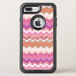 Pink zigzag background OtterBox defender iPhone 8 plus/7 plus case