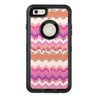 Pink zigzag background OtterBox defender iPhone case
