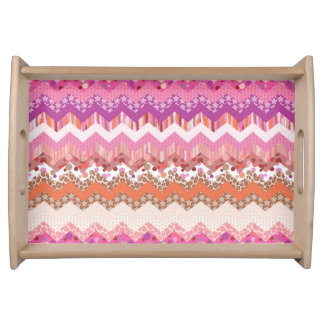 Pink zigzag background serving tray