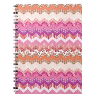 Pink zigzag background spiral notebook