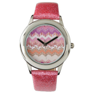 Pink zigzag background watch