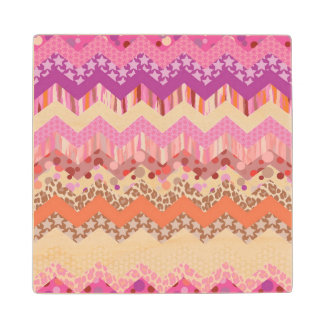 Pink zigzag background wood coaster