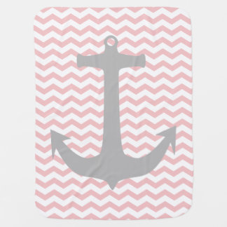 Pink Zigzag & Gray Nautical Anchor Baby Blanket