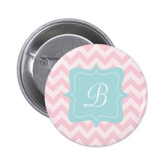 Pink Zigzag Monogram 6 Cm Round Badge