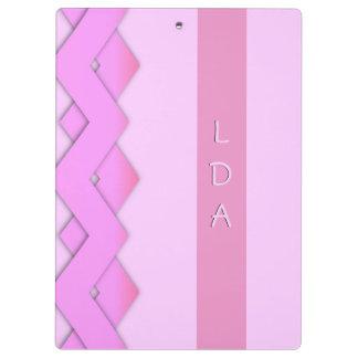 Pink Zigzag Monogram Clip Board