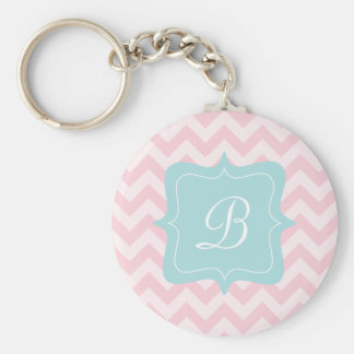 Pink Zigzag Monogram Key Ring