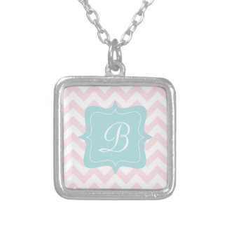 Pink Zigzag Monogram Silver Plated Necklace