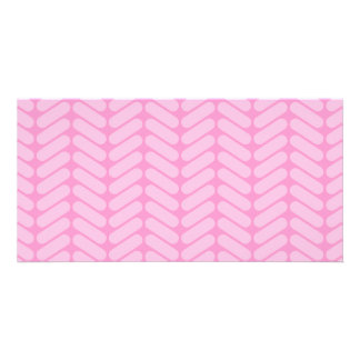 Pink Zigzag Pattern inspired by Knitting. Picture Card