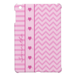 Pink Zigzag Stripes and Hearts iPad Mini Case