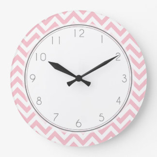 Pink Zigzag Stripes Pattern Large Clock