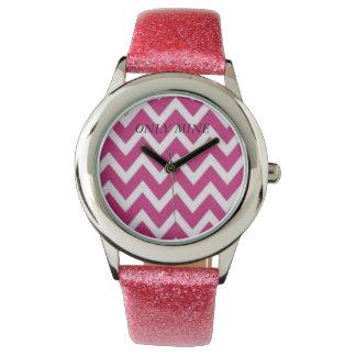 pink zigzag  with Pink Glitter Strap      Watch