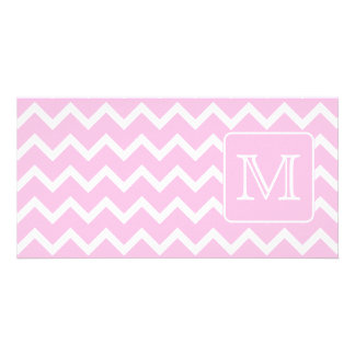 Pink Zigzags with Custom Monogram. Card