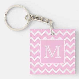 Pink Zigzags with Custom Monogram. Key Ring