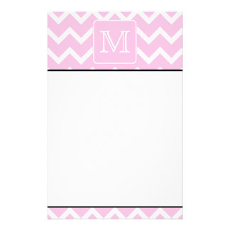 Pink Zigzags with Custom Monogram. Stationery
