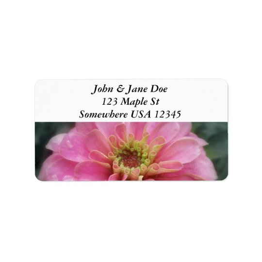 Pink Zinnia Flower Address Label