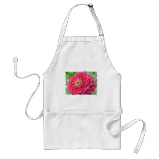 Pink Zinnia Flower Adult Apron