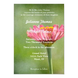 """Pink Zinnia 5"""" X 7"""" Invitation Card"""