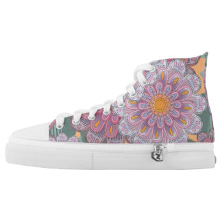 Pink Zinnia Mandala Pattern High Tops