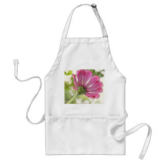 Pink Zinnia reaching for the sky Adult Apron