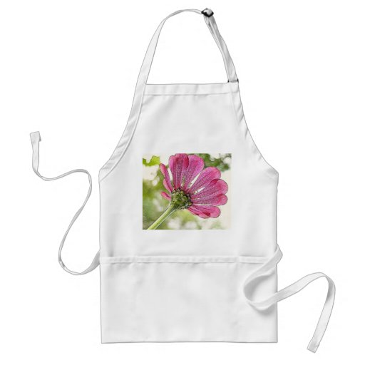 Pink Zinnia reaching for the sky Apron