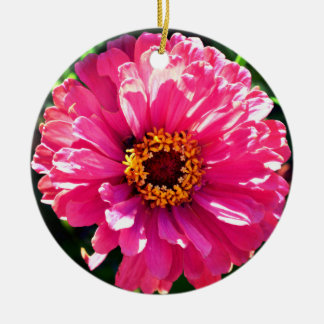 Pink Zinnia Round Ceramic Decoration