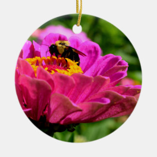Pink Zinnia with bumble bee Christmas Ornament