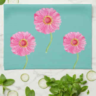 Pink zinnias kitchen towel on aqua