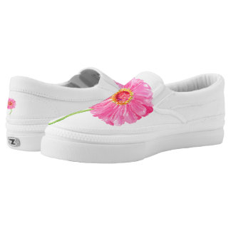 Pink zinnias printed shoes
