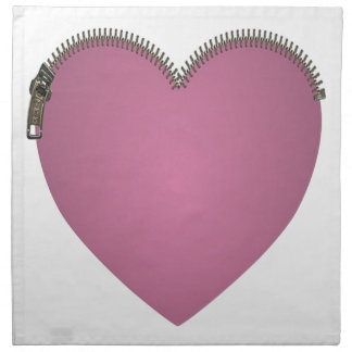 Pink Zipped Heart Napkin