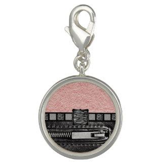 Pink Zipper Zebra Metal Monogram