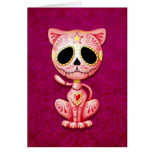 Pink Zombie Sugar Kitten Greeting Card
