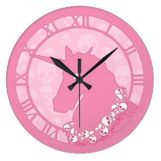 Pink Zombie Unicorn Round Clock