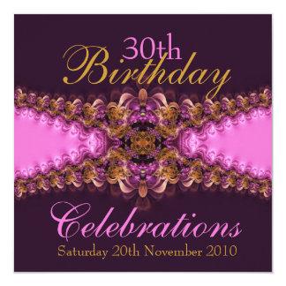 """PinkBree Diva pink garter lace Invitation 5.25"""" Square Invitation Card"""